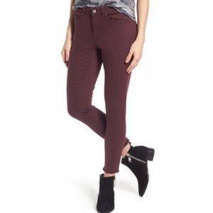 Caslon frayed hem Burgundy skinny denim jeans
